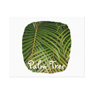 Palm Fronds with Palm Tree white text tropical Gallery Wrapped Canvas