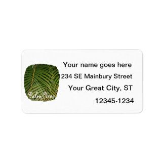 Palm Fronds with Palm Tree white text tropical Custom Address Labels
