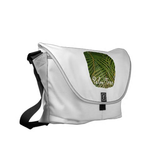 Palm Fronds with Palm Tree white text tropical Commuter Bags