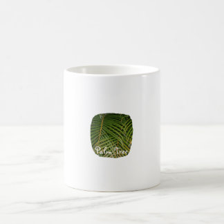 Palm Fronds with Palm Tree white text tropical Mugs