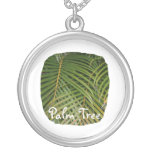 Palm Fronds with Palm Tree white text tropical Necklace