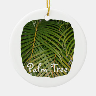 Palm Fronds with Palm Tree white text tropical Double-Sided Ceramic Round Christmas Ornament