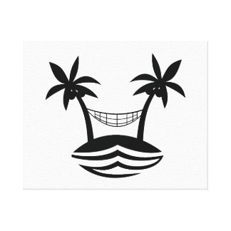 palm hammock beach smile blk png stretched canvas print