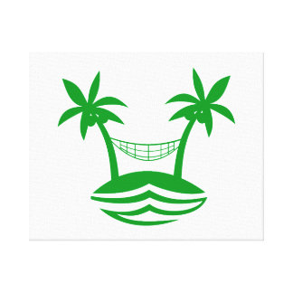 palm hammock beach smile green.png stretched canvas print