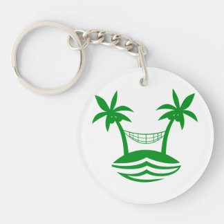 palm hammock beach smile green.png Double-Sided round acrylic keychain