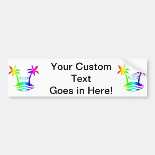 palm hammock beach smile rainbow.png bumper sticker