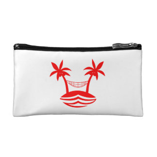 palm hammock beach smile red.png cosmetic bag