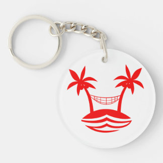 palm hammock beach smile red.png Double-Sided round acrylic keychain