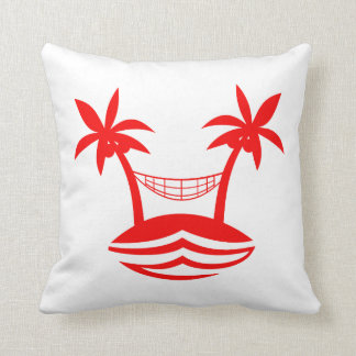 palm hammock beach smile red.png throw pillow