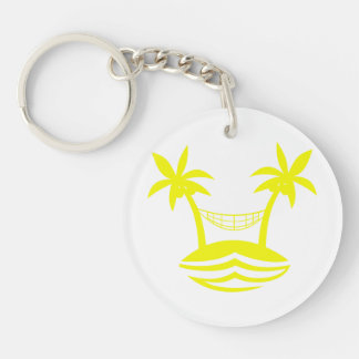 palm hammock beach smile yellow.png Double-Sided round acrylic keychain