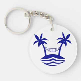 palm hammock beach smileblue.png Double-Sided round acrylic keychain