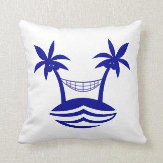 palm hammock beach smileblue.png throw pillows