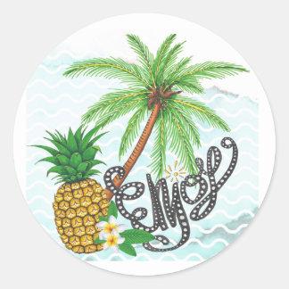 Palm Hand Painted Pineapple Illustration Enjoy Classic Round Sticker