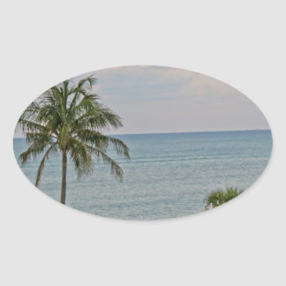 Palm in Paradise Oval Sticker