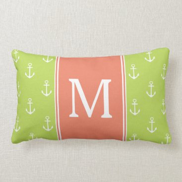 Beach Themed Palm Leaf and White Anchors With Salmon Monogram Lumbar Pillow