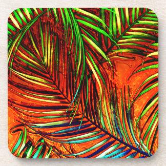 Palm Leaf Art Jungle Fire Edit Coaster