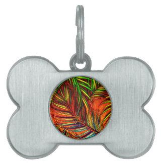 Palm Leaf Art Jungle Fire Edit Pet Name Tag