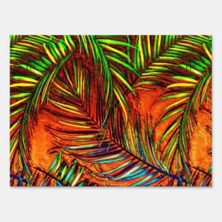 Palm Leaf Art Jungle Fire Edit Sign