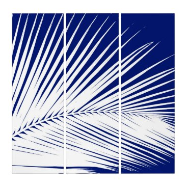 Beach Themed Palm leaf - cobalt blue and white triptych