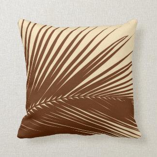 Palm leaf - Dark brown and tan Throw Pillow