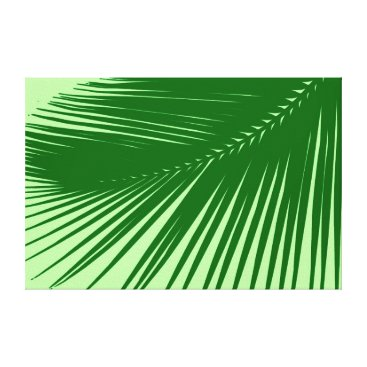 Beach Themed Palm leaf - Emerald and Lime Green Canvas Print