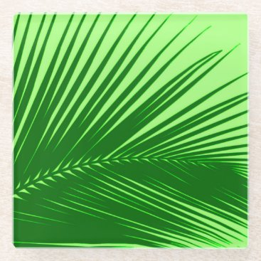 Beach Themed Palm leaf - emerald and lime green glass coaster