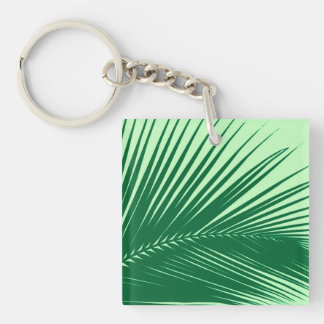 Palm leaf - emerald and lime green square acrylic key chains