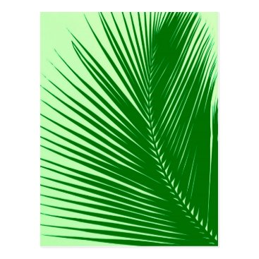 Beach Themed Palm leaf - emerald and lime green postcard