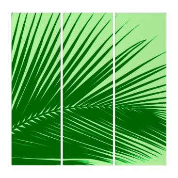 Beach Themed Palm Leaf, Emerald and Lime Green Triptych