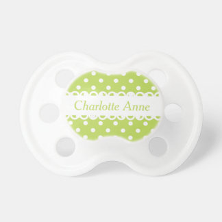 Palm Leaf Green and White Polka Dot Personalized Pacifier