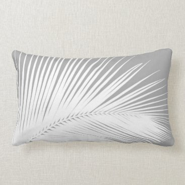 Beach Themed Palm leaf - grey and white lumbar pillow