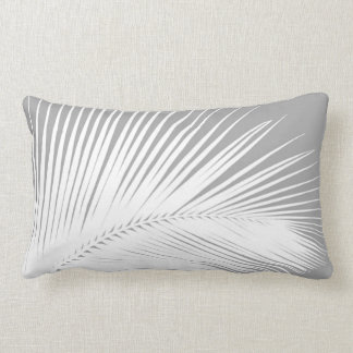 Palm leaf - grey and white throw pillow