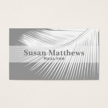 Beach Themed Palm leaf - grey / gray and white business card