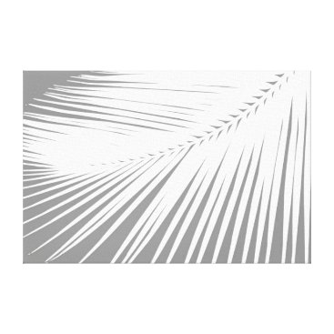 Beach Themed Palm leaf - Grey / Gray and White Canvas Print