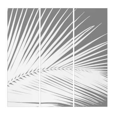 Beach Themed Palm Leaf, Grey / Gray and White Triptych