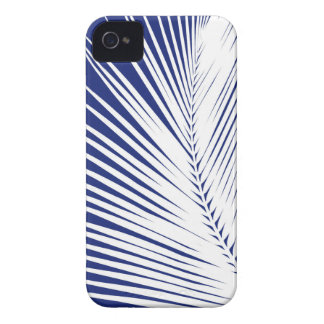 Palm leaf - navy blue and white iPhone 4 Case-Mate cases