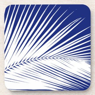 Palm leaf - navy blue and white drink coaster