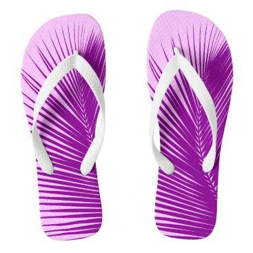 Beach Themed Palm leaf - orchid and purple flip flops