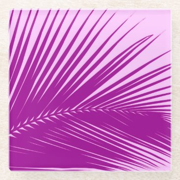 Beach Themed Palm leaf - orchid and purple glass coaster