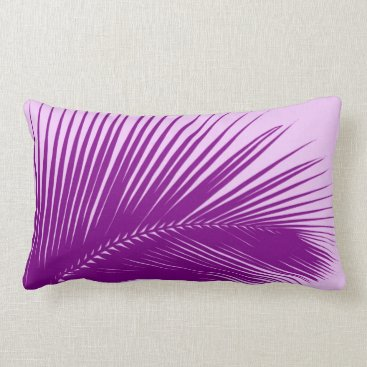 Beach Themed Palm leaf - orchid and purple lumbar pillow
