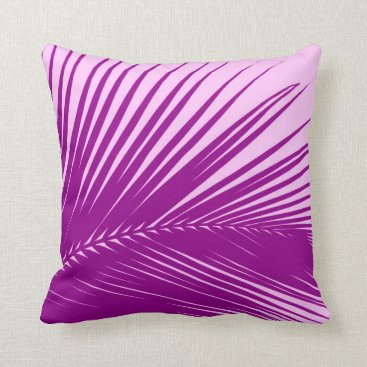 Beach Themed Palm leaf - orchid and purple throw pillow