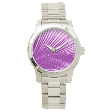 Beach Themed Palm leaf - orchid and purple wrist watch