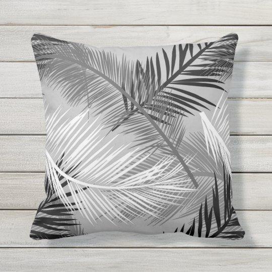 Palm Leaf Print Grey Gray Black And White Throw Pillow