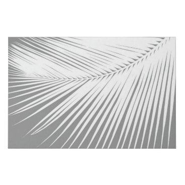 Beach Themed Palm Leaf Silhouette, Grey / Gray and White Faux Canvas Print