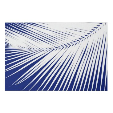 Beach Themed Palm Leaf Silhouette, Navy Blue and White Faux Canvas Print