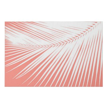 Beach Themed Palm Leaf Silhouette, White on on Coral Pink Faux Canvas Print