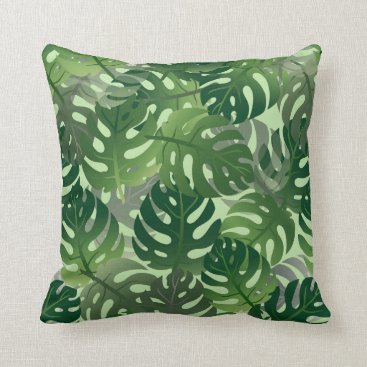 Beach Themed Palm Leaf Tropical Pattern Throw Pillow