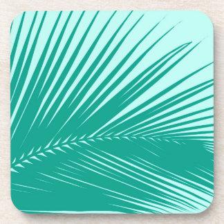Palm leaf - Turquoise and aqua Drink Coaster