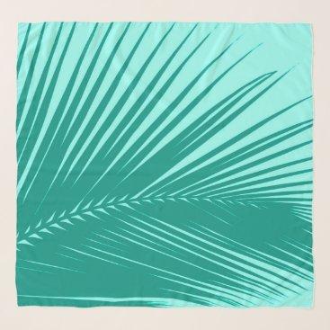 Beach Themed Palm Leaf, Turquoise and Aqua Scarf