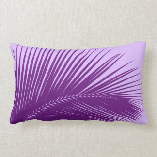 Palm leaf - violet and lavender throw pillow